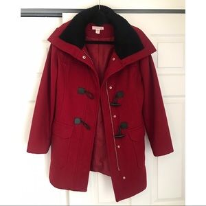Coldwater Creek Christmas Red Winter Toggle Coat